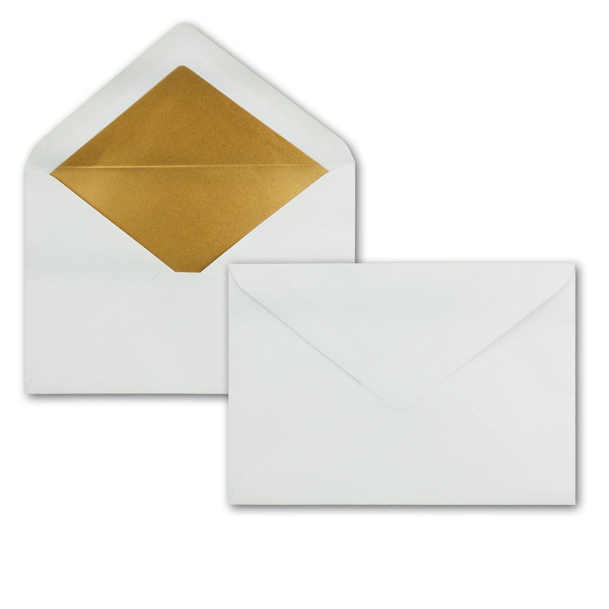 incollaggio a umido con lembo a punta 50 Umschl/äge Sandbraun Gold Futter formato DIN C5 Buste da lettere con rivestimento ad effetto metallico 156 x 220 mm
