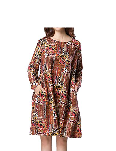 Finches NEW Spring Autumn Women dress Vintage Printing Cotton Linen large Size Casual Vestidos Robe Elbise orange - Swim Stores Vancouver