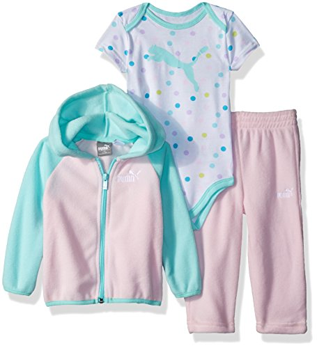 PUMA Baby Girls Three Piece Micro Fleece Set, Cherry Blossom, 3-6 Months ()