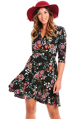 (Truly Me, Women's All Ocassion/Office A-line, Flare, Skater Skirt Dress (Black-Floral,)