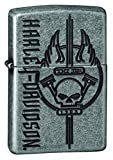 Zippo Harley-Davidson Skull Armor Antique Silver Plate Pocket Lighter