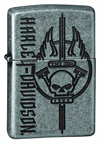 (Zippo Harley-Davidson Skull Armor Antique Silver Plate Pocket Lighter)