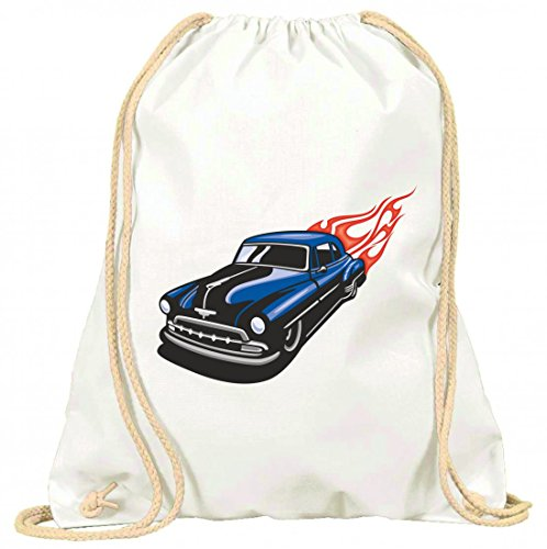 Turnbeutel Bond Klassik Oldtimer mit roten Flammen America Amy USA Auto Car Luxus Breitbau V8 V12 Motor Felge Tuning Mustang Cobra mit Kordel - 100% Baumwolle- Gymbag- Rucksack- Sportbeutel Weiß KhLjPxlPFx