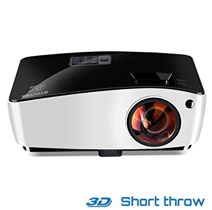 Amazon com: WJ HD Short Throw Projector, Portable 3D Fish-Eye Lens