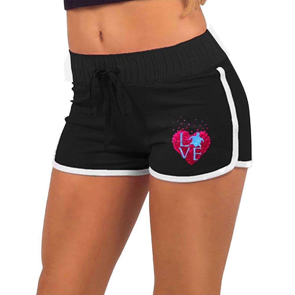 Baujqnhot Love Sea Turtles Heart Pattern Girls Comfort Waist Workout Running Shorts Pants Yoga Shorts