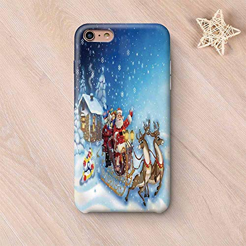 Christmas Decorations No Odor Compatible with iPhone Case,Santa in Sleigh with Reindeer and Toys in Snowy North Pole Tale Image Compatible with iPhone 7/8 Plus,iPhone 6 Plus / 6s Plus