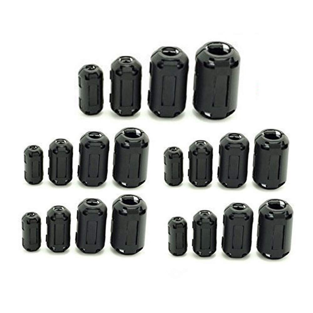 PP-YY 20 Pcs Clip-on Ferrite Ring Core RFI EMI Noise Suppressor Cable Clip for 5mm/7mm/9mm/13mm Diameter Cable, Black