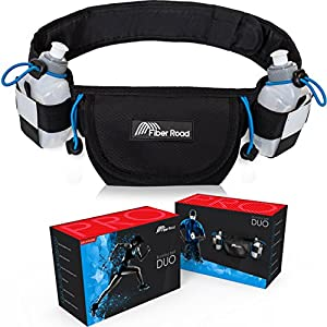 Hydration Running Belt With 2 BPA Free Bottles By Fiber Road | Elastic & Waterproof Neoprene Waist Pouch for Men, Women & Kids | Adjustable Fanny Pack For Hiking, Sports & Outdoors | Bonus Wrist Wrap