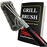 "Grill & Chill BBQ Cleaner Brush Stainless Steel Wire Bristles - 18"" Handle - Safe for Porcelain, Ceramic Cooking Grates - Fast Cleaning - Perfect Barbecue Accessories"
