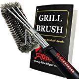 Grill & Chill BBQ Cleaner Brush Stainless Steel Wire Bristles - 18'' Handle - Safe for Porcelain, Ceramic Cooking Grates - Fast Cleaning - Perfect Barbecue Accessories