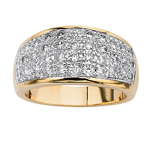 Pave White Cubic Zirconia 14k Gold-Plated Dome Ring Size 7