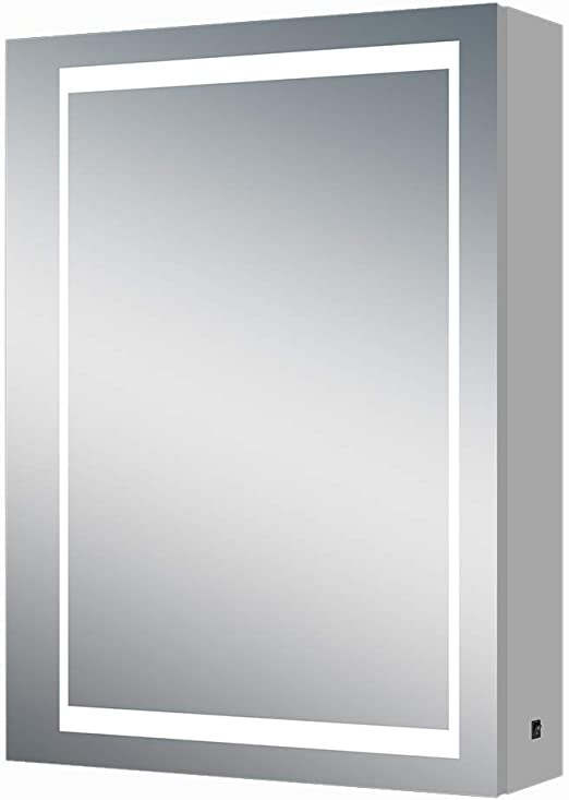 Amazon Com Renewal Backlit Medicine Cabinet With Mirror For Bathroom Makeup Led Lighted Upgraded With 3 Levels Button For Bathroom Home Storage 20 W X 28 H X 6 D Kitchen Dining