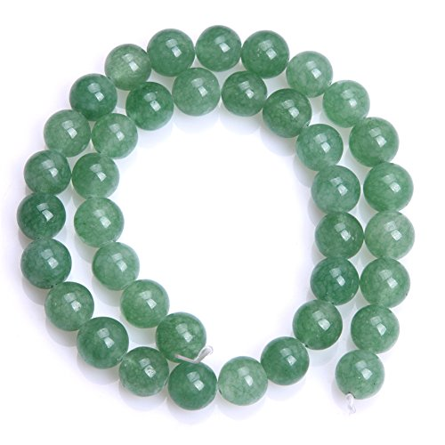 Jade Beads Necklace Earring - Joe Foreman Jade Aventurine Beads for Jewelry Making Natural Semi Precious Gemstone 10mm Round Green Strand 15