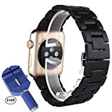 Wooden Apple Watch Band, Bracelet Band [ Entirely Natural Hand-made Wood ] Classic Wristband Wood Bracelet Strap with Fast Dismantling Install Tool for Apple Watch - Black Sandalwood (38mm black)