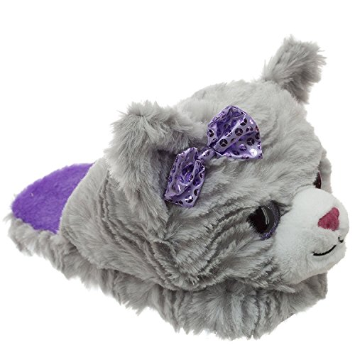 Dan Dee Cute Plush Kitten Purple & Grey Scuff Sippers (Small (11/12), Grey Purple Bow)