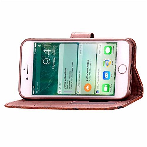 Funda Libro para iPhone 7 Plus,Manyip Suave PU Leather Cuero Con Flip Cover, Cierre Magnético, Función de Soporte,Billetera Case con Tapa para Tarjetas, Funda iPhone 7 Plus D