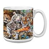 Tree-Free Greetings Extra Large 20-Ounce Ceramic Coffee Mug, Big Cat Cuddle Themed Wildlife Art (XM29810)
