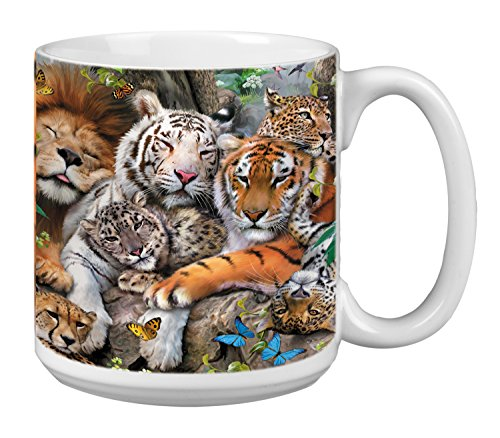 Big Cat Cuddle Extra Large Mug 20-Ounce Jumbo Ceramic Coffee Mug Cup, Lion Tiger, Leopard Art, Gift for Animal Lovers (XM29810) Tree-Free Greetings ()