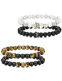 Thunaraz 4pcs Couples Bracelets for Him and Her CZ Crown Queen Beads Bracelet 8mm