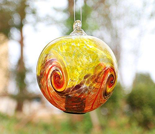 - Artisan Crafts and Design 4.6-Inch Solar Hanging Glass Gazing Ball Outdoor Garden Décor Yellow-Orange Swirl