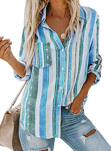 Aleumdr - Camisa de manga larga para mujer, con botones en la parte delantera, S-XXL A-bleu 40/42 EU M: Amazon.es: Ropa y accesorios