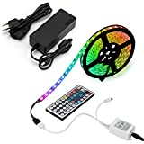 EPBOWPT 5M(16.4ft) Waterproof Flexible Color Changing RGB SMD5050 300 LEDs Light Strip Kit with 44 Key Remote Controller and 12V 5A Power Supply