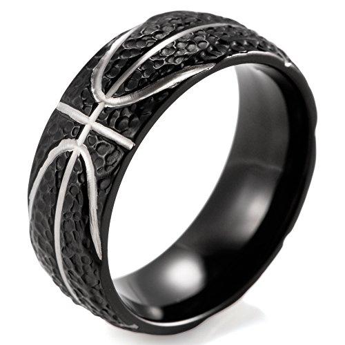 SHARDON Men's 8mm Black Domed Titanium Ring with Hammered Basketball Pattern Size 8