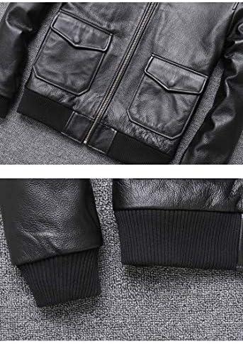 CHEJI ライダース ジャケット メンズ 本革 羊革ラム革·牛革 シングル ダブル ミリタリージャケット レザージャケットショート丈 バイクジャケットブルゾンダブルライダース MA-1 Gジャン (S)