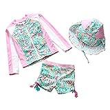 Happy Cherry Toddler Girls Swim Suits UPF 50+ Rash Guard Shirts Shorts Hat Set
