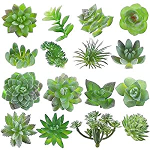 MAXZONE Fake Succulents16pcs Artificial Succulents Picks Unpotted Faux Succulent Assortment in Flocked Green in Different Type Different Size Succulents Echeveria Agave Floral 88