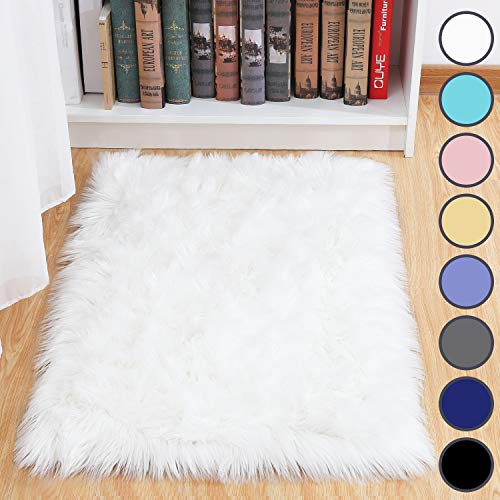 Junovo Luxury Plush Faux Sheepskin Area Rug Fluffy Faux Fur Shag Carpet, 2ft x 3ft White