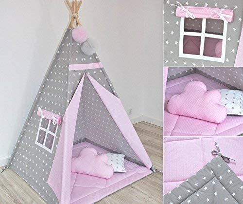 Natural Pink Teepee Tent with Floor Mat and Pillows