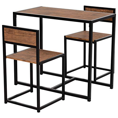 HOMCOM Industrial 3-Piece Dining Table and 2 Chair Set for Small Space in The Dining Room or Kitchen