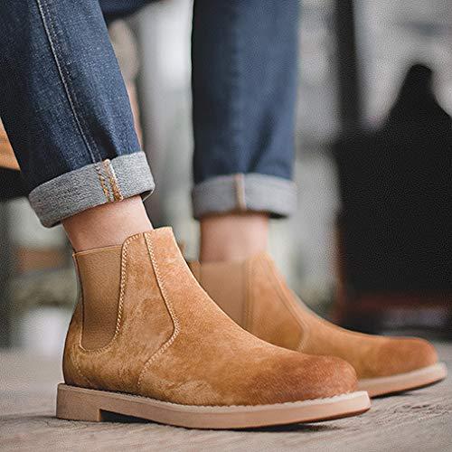 Stivali in Martellata Pelle da Pelle Uomo Casual Cowboy Foderati da in Grind Smart di Sicurezza Vintage Pelle Stivali Yellow Stivali in wqB4SY