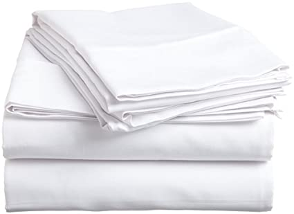 4 Pcs Bed Sheet Set Egyptian Cotton Cal King Size - White Solid Solid (1 Fitted Sheet, 1 Flat Sheet & 2 Pillow Cover) 8 Inch Drop Elastic All Round 400 TC by Mahaveer Cotton