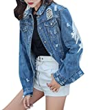 Tengfurich Women's Classic Boyfriend Long Sleeve Ripped Distressed Denim Blue Jean Jacket