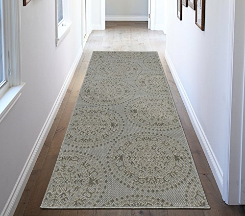 51T6 geKXoL - Ottomanson Jardin Collection Medallions Indoor/Outdoor Jute Backing Area Rug X, 2'7 x 7'0, Grey
