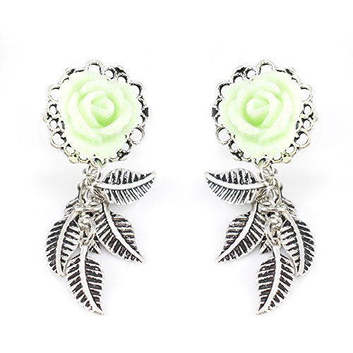 BodyJewelryOnline Ear Piercing Plugs with Mint Green Rose Frame Front and Leaf Dangles - 316L Surgical Steel (11mm - 7/16 -