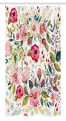 Ambesonne Floral Stall Shower Curtain by, Shabby Chic Flowers Roses Petals Dots Leaves Buds Spring Season Theme Image Artwork, Fabric Bathroom Decor Set with Hooks, 36 W x 72 L Inches, Multicolor