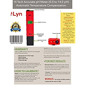 Hi Tech Portable Accurate Digital Pen Type pH Meter (0-14) BackLit 0.01 Resolution ATC - 100% Warranty Premium Supplies Kit Hydroponic Aquarium Pool Soil Beer Easy To Use BONUS FREE Calibration Powder