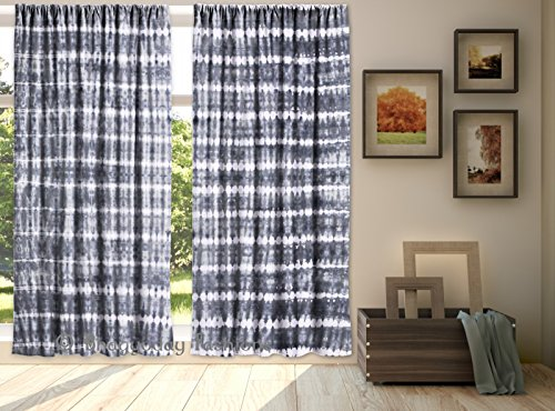 Indian Shibori Mandala Hand Tie Dye Tapestry Door Curtain New Window Room Scarf Valance Curtains Divider Throw Panel 2 Pcs Set 84 x 80 Inch