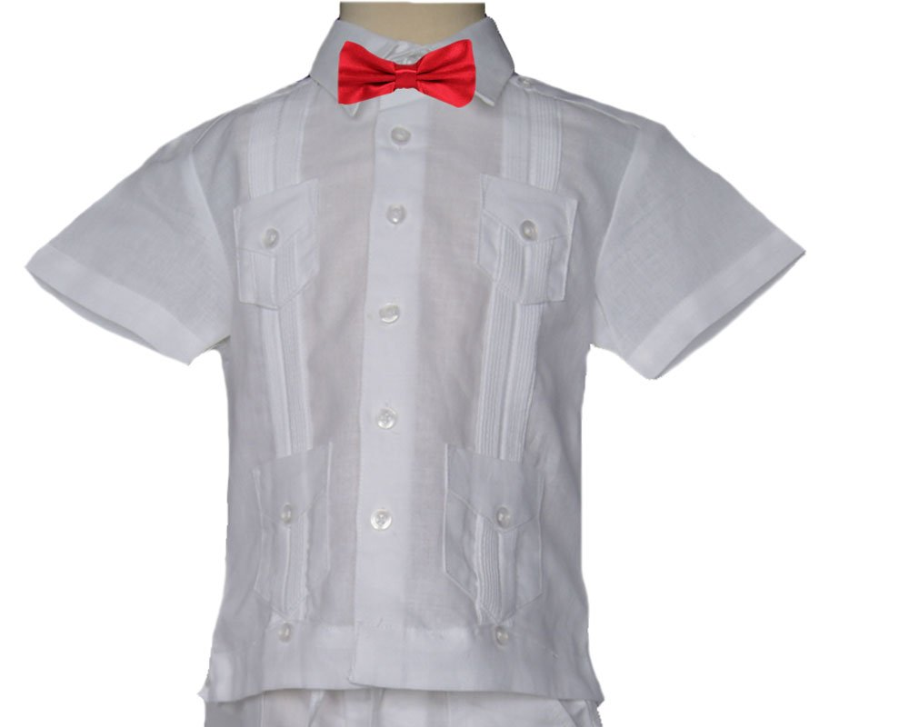 GUAYABERASCUBANAS Bow Tie Guayabera. Elegant Combination for Baptisms, Weddings and Events. Runs Small. Bow tie and Shirt. (5, White-Red)