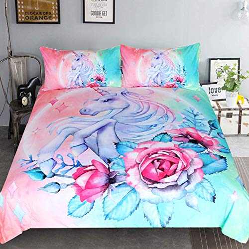 Sleepwish Unicorn Bedding Teen Magical Horse Rose Bedspreads 3 Piece Rose Pink Blue Bedding Unicorn Lovers Bedding Duvet Doona Cover Set (King)