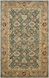Safavieh Antiquities Collection AT849B Handmade Traditional Oriental Teal Blue and Taupe Wool Area Rug (5' x 8')