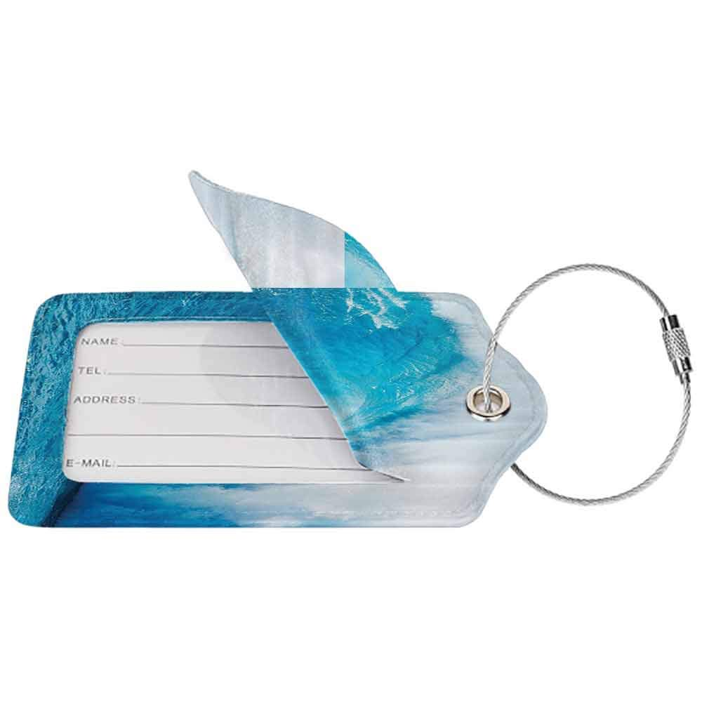 Multicolor luggage tag Ocean Decor Wavy Ocean Adventurous Surfing Extreme Water Sports Summer Holiday Destination Picture Hanging on the suitcase Aqua W2.7 x L4.6