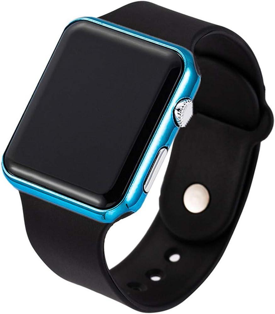 RRWL Reloj LED Deportivo y de Ocio para Mujer Reloj Digital Unisex Reloj de Pulsera de Silicona para Parejas Regalos navideñosNegro Azul