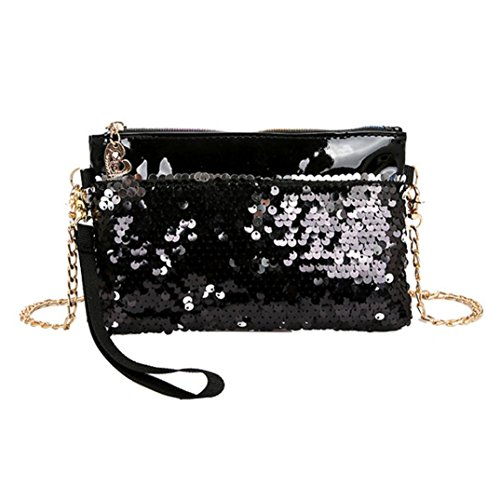 Clearance Sales Fashion Sequins Beach Bag Afterso Messenger Bags Handbags Casual Phone Bag Purse Wallet Crossbody Bags Womens Girls Gift (19cm(L) 3cm(W) 16cm(H)/7.48(L) 1.18(W) 6.29(H), Black - (Latest Fashion Bag)