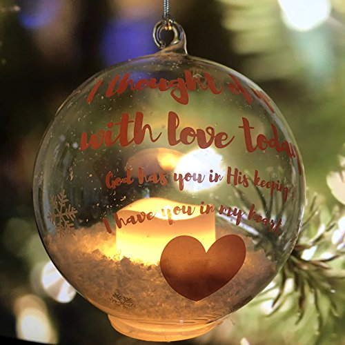In Loving Memory Ornament - LED Glass Ball Ornament with Candle - Light Up Memorial Keepsake - I Thought of You With Love Today ()