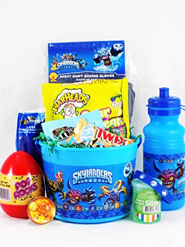 Skylander Easter Themed Candy and Toy Gift Basket with Night Shift Boxing Gloves