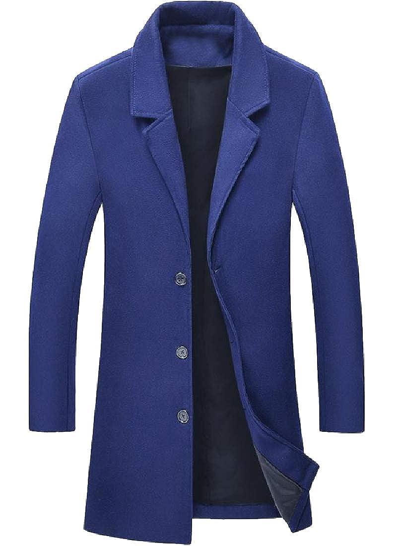 Zimase Mens Premium Wollen Notched Lapel Fall Winter Duster Coat